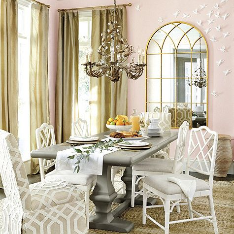 Pink white and gold dining room dining room pinterest for Ballard designs dining room