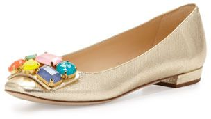 Kate Spade New York Nadja Jewel-Detail Buckle Flat | See more about Kate Spade, Flats and New York.