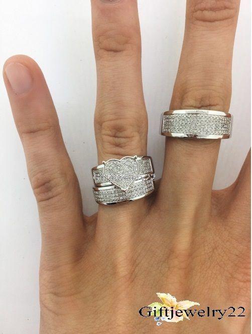 10K White Gold His Her 1.50 Ct Diamonds Wedding Band Ring Trio Bridal Set    eBay