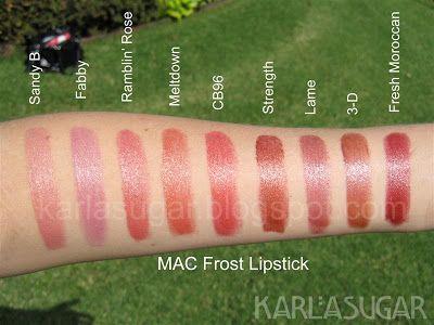 MAC, Frost, lipstick, swatches, Sandy B, Fabby, Ramblin' Rose, Meltdown, CB96, Strength, Lame, 3-D, Fresh Moroccan