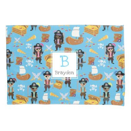 #Pirate Treasure Hunt Kids Personalized Pattern Pillowcase - #Pillowcases #Pillowcase #Home #Bed #Bedding #Living