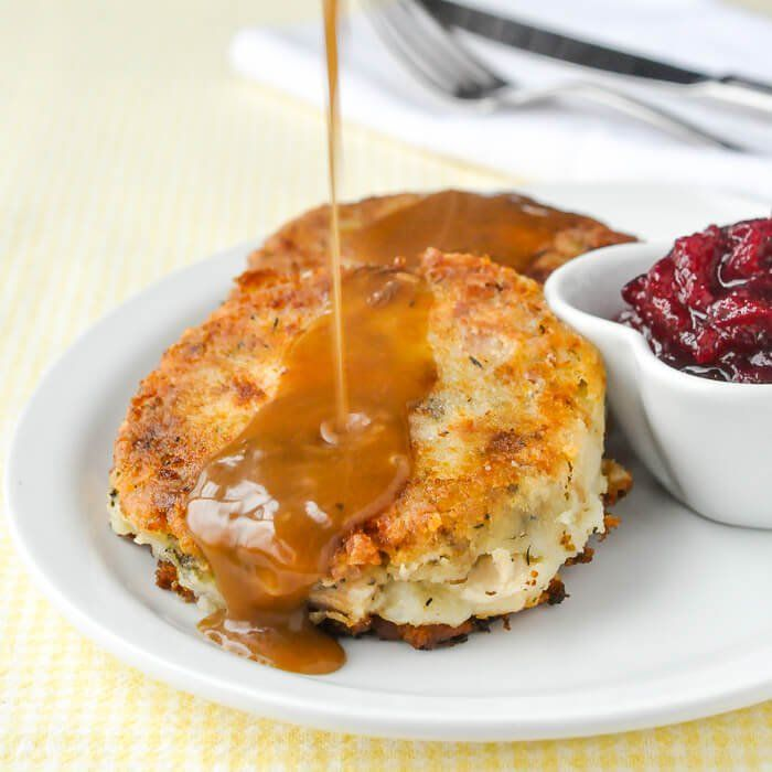 Leftover Turkey Potato Cakes - pure comfort food heaven, from leftovers! These crispy turkey cakes may be even better than the original turkey dinner.