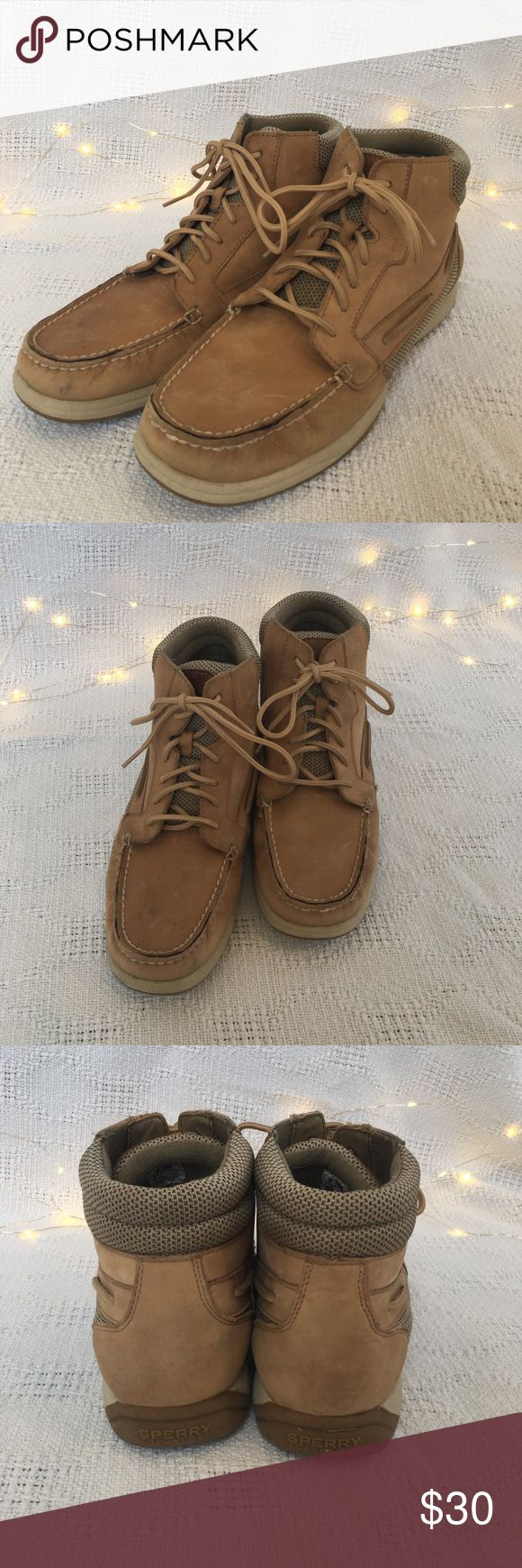 🆕Listing- Sperry high tops Lace up tan Sperry high tops! Very comfortable and stylish! Worn in but still in a great condition! Offers are an option:) Sperry Shoes