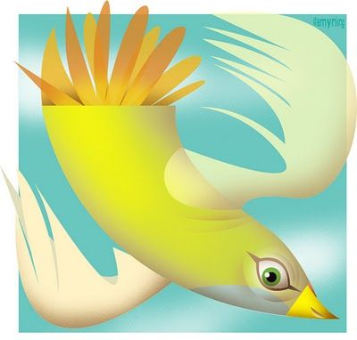Yellow Bird Against Turquoise Sky. Illustration by Amy Ning, represented by Liz Sanders Agency, lizsanders.com