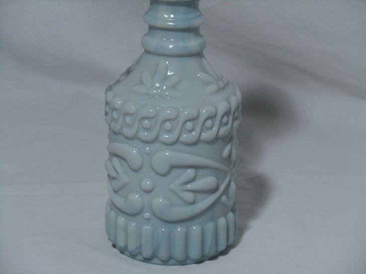 VTG Blue & White Slag Glass Polynesian Tropical Tiki Genie Bottle Decanter