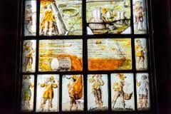 Civil War Window at Farndon Church, Cheshire, inserted 1660s.