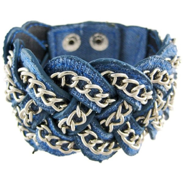 Things2Die4 Blue Denim Braided Chain Wristband Western ❤ liked on Polyvore