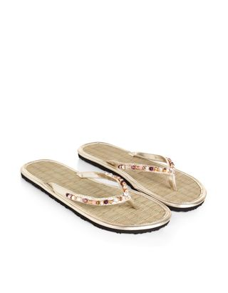 Cipriani Beaded Seagrass Flip Flops