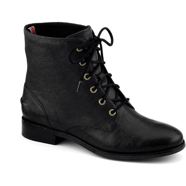 Sperry Top-Sider Adeline Boot (170 BRL) ❤ liked on Polyvore featuring shoes, boots, sapatos, botas, black leather, short heel boots, black boots, sperry boots, black leather boots and black shiny boots