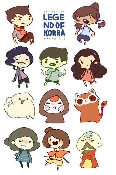 Kawaii! The Legend of Korra! Chibi form!... I love Avatar the Last Airbender way more!!!! I am so disappointed with Legend of Korra!!! Korra is so lame!!! Worst avatar ever!!