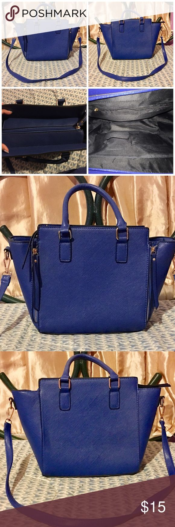 Body Central Saffiano Faux Leather Satchel Body Central Saffiano Faux Leather Satchel in royal blue with crossbody strap. Only used twice. Body Central Bags Crossbody Bags