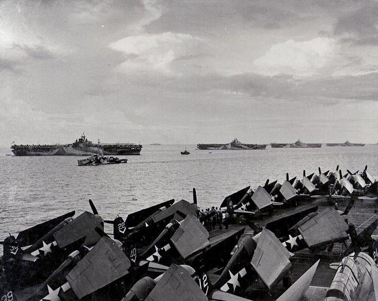 """They called it """"Murderer's Row"""" - Essex-class carriers USS Wasp (CV-18), USS Yorktown (CV-10), USS Hornet (CV-12) and USS Hancock (CV-19), Ulithi Atoll. 2 December 1944."""