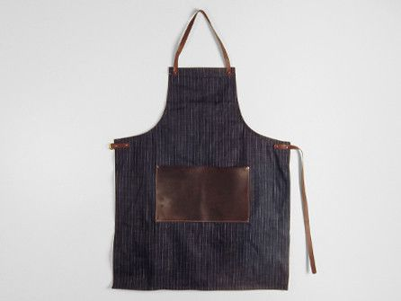 Stanley & Sons Denim Apron with Leather Straps