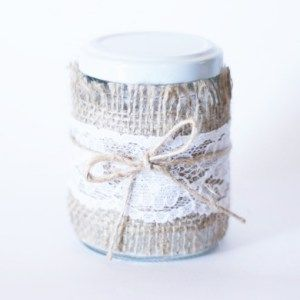 Hessian Lace Twine Wrapped Jar Favour