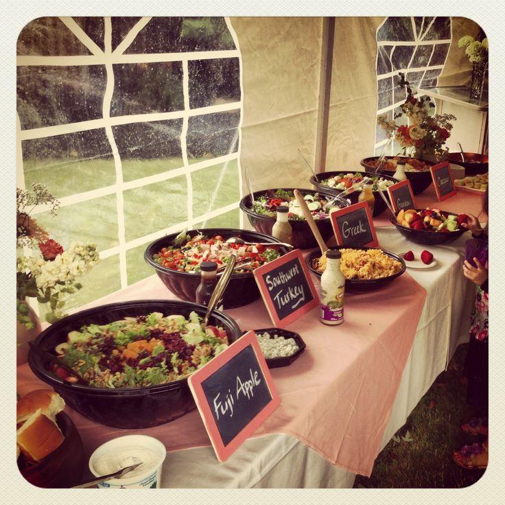 Wedding shower salad buffet. Chalkboard signs. Wegmans. Rustic wedding shower