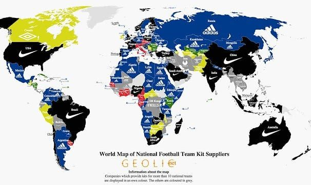 World Map of National Football Team Kit Suppliers #map #maps #data #infographic #visual #info #dataviz #visualization  #adidas #nike #puma #football #futbol #футбол #sport #usa #russia #2018 #mundial2018 #rusia2018 #russia2018