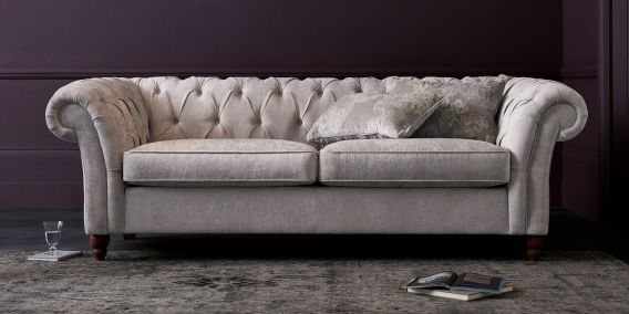 Buy Gosford Buttoned Large Sofa (3 Seats) Antique Velvet Mid Dove Low Turned - Light from the Next UK online shop