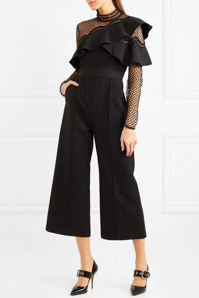 6f5f41561744 Self-Portrait - Cropped Ruffled Guipure Lace And Crepe Jumpsuit - Black