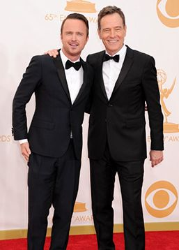Aaron Paul, Bryan Cranston in Black Tie Optional at the Emmys 2013.  Crack the Formal Dress Code Style onTheGentlemanual.com