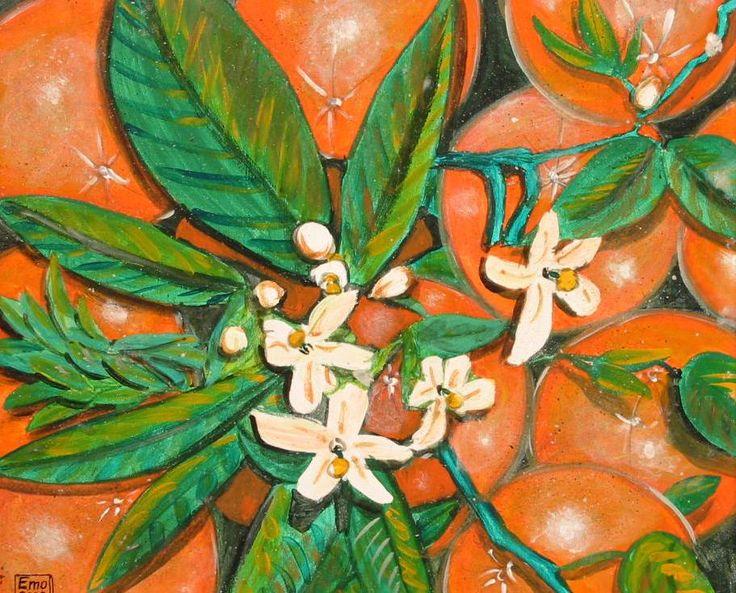 Herbstdeko Fensterbilder : Blühender Orangenbaum