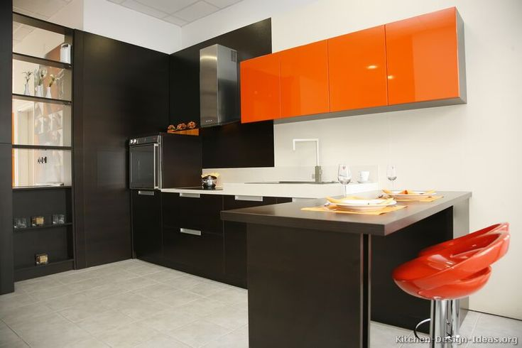 kitchen idea of the day: a gallery of modern orange kitchens