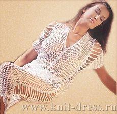 Волшебные петельки: Сетчатое платье с тесемками