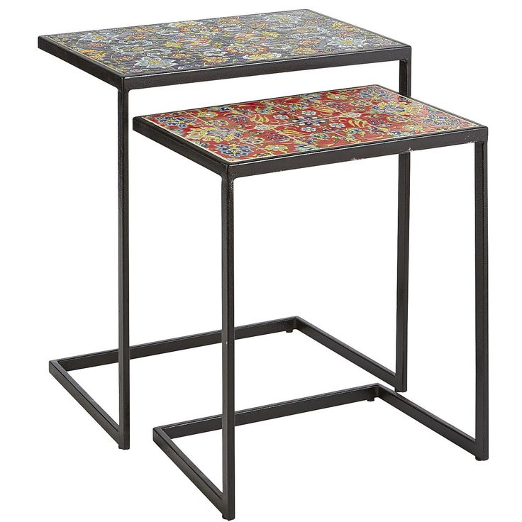 Multi Colored Alessandro Mosaic Nesting Tables   Wrought Iron   Outdoor