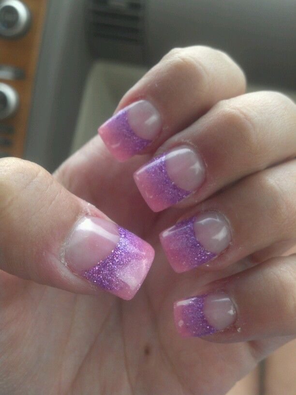 Pink And Purple Glitter Ombre Acrylic Nails Beauty Pinterest Acrylics Ombre And Pink