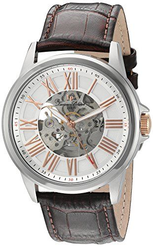 Men's Wrist Watches - Lucien Piccard Mens Calypso Stainless Steel and Leather Automatic Watch ColorBrown Model LP12683A02SRABRW * Continue to the product at the image link.