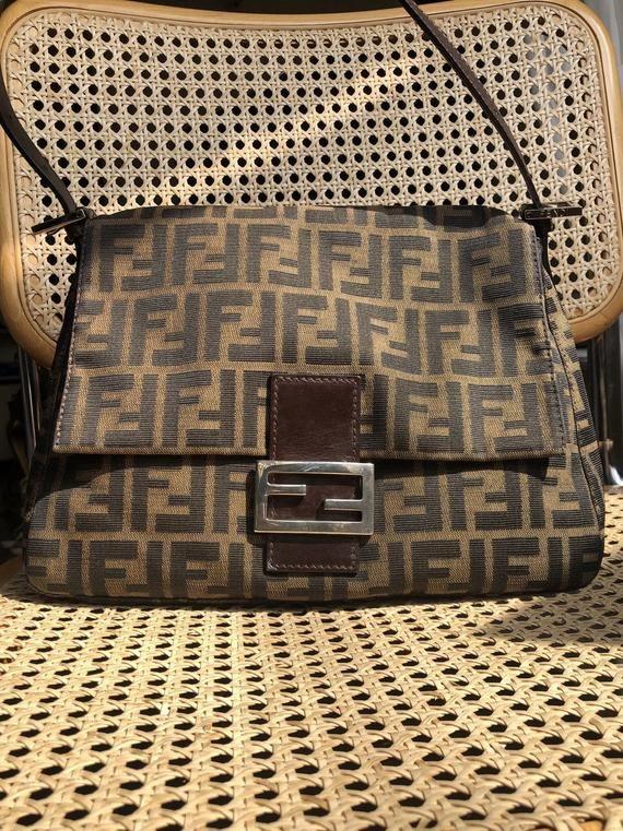 Fendi Zucca Vintage Bag Mama Baguette Etsy Fendi Bags Vintage