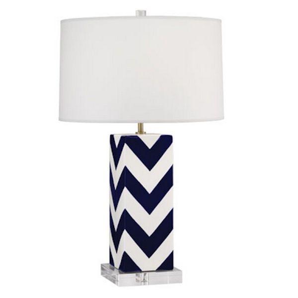 NAVY AND WHITE CHEVRON LAMP
