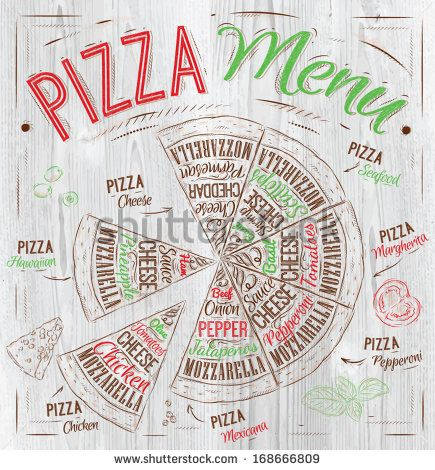 Pizza menu the names of dishes of Pizza, Hawaiian, cheese,  chicken, pepperoni and other ingredients tomato, basil, olive, cheese to design a menu stylized drawing with wood of red, green. Vector