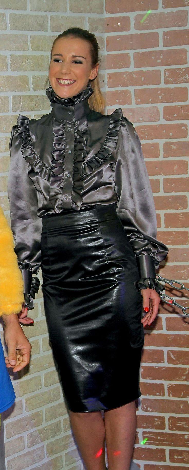 satin blouse  leather skirt  xxx
