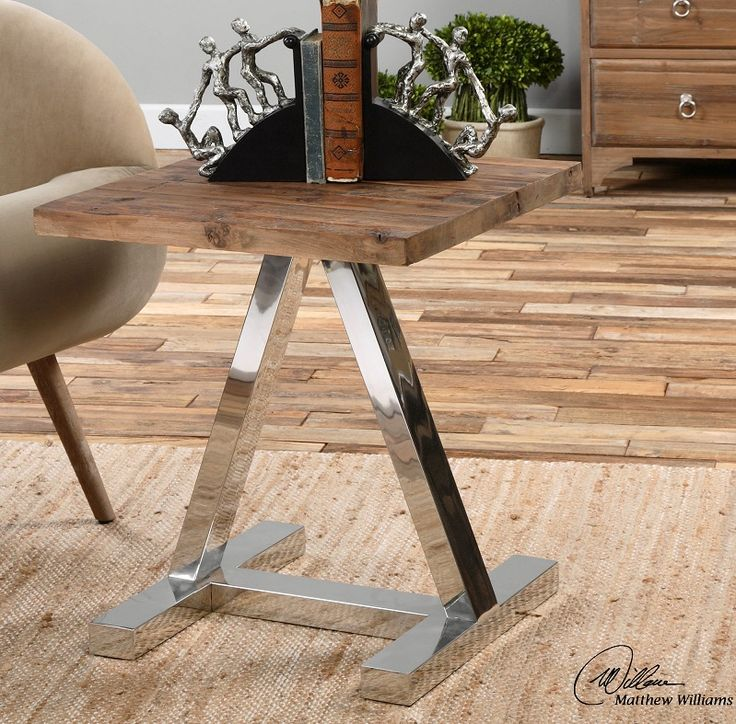 Solid, Reclaimed Fir Wood Top With Polished Stainless Steel Legs. Design:  Solid, Reclaimed Fir Wood Top With Polished Stainless Steel Legs.