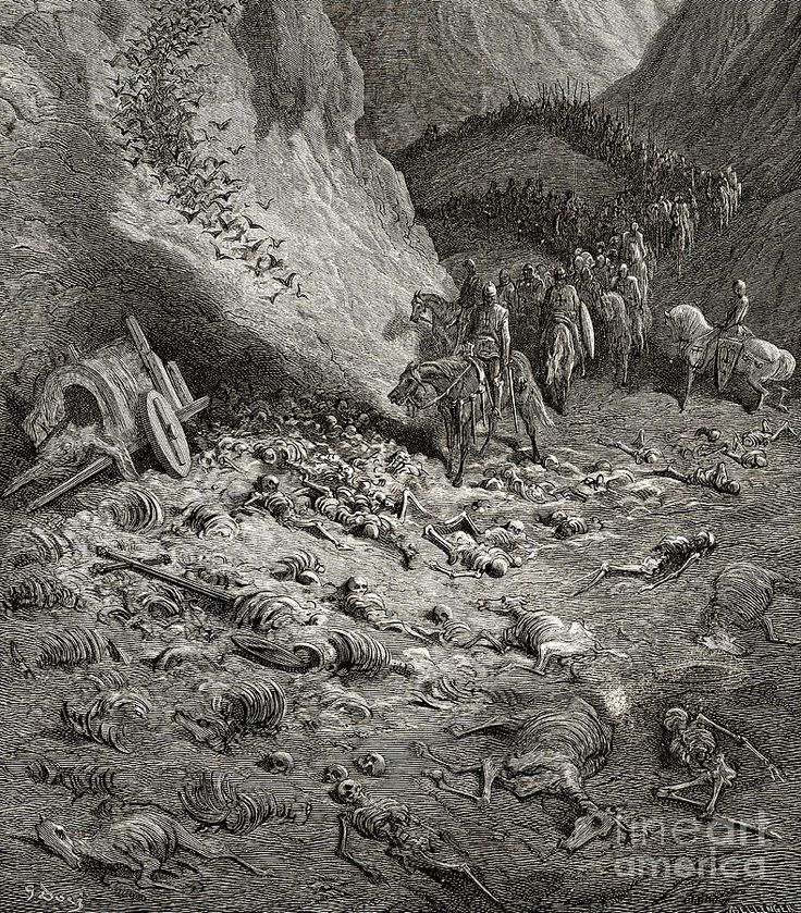 The Army Of The Second Crusade Find The Remains Of The Soldiers Of The First Crusade Drawing by Gustave Dore