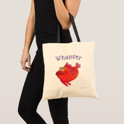 Whatever Fish Art Pink and Red Tote Bag - red gifts color style cyo diy personalize unique