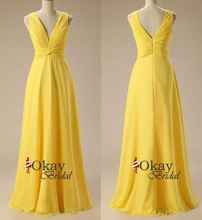 Yellow Prom Dress,Chiffon Prom Dress,Long Prom Dress,Cheap Prom Dress,Prom Dress with Straps,Pretty Prom Dress,PD1049