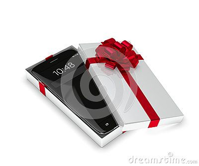 3d rendering of smartphone in gift box isolated over white background