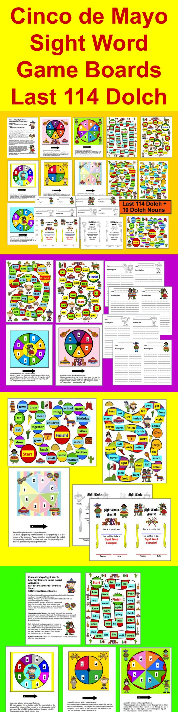 Uncategorized 5 De Mayo Facts 102 best teaching cinco de mayo images on pinterest sight words literacy centers game board activities last 114 dolch words