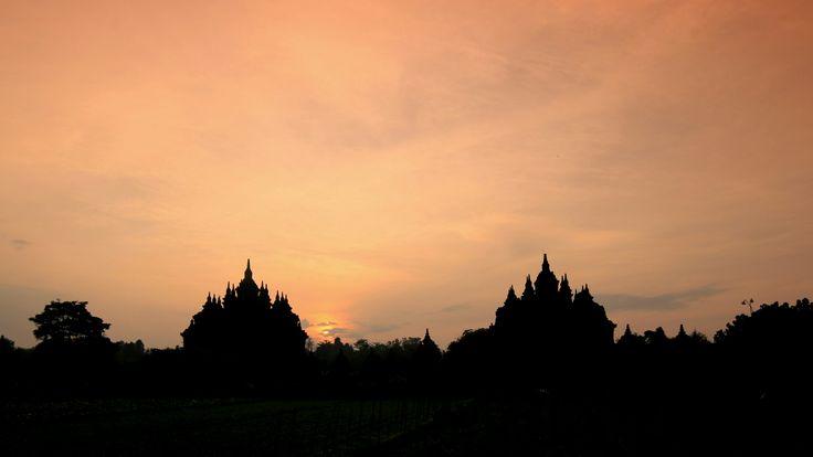 Shiloutte of Plaosan Temple, Central Java