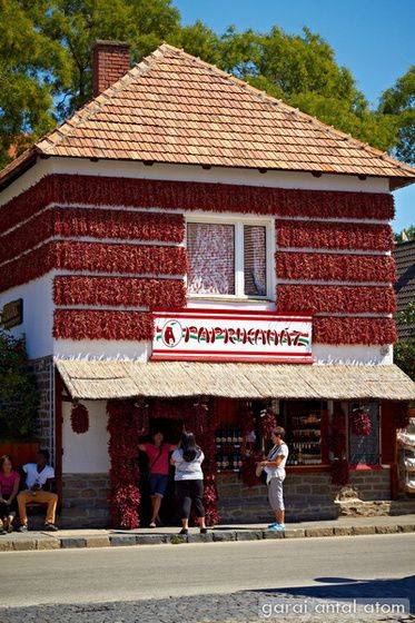 red paprika house in Tihany, Lake Balaton, Hungary