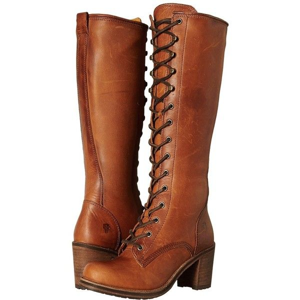 Frye Karen Lace Up Tall Women's Lace-up Boots ($428) ❤ liked on Polyvore featuring shoes, boots, knee-high boots, leather work boots, knee high platform boots, platform boots, lace up boots and work boots