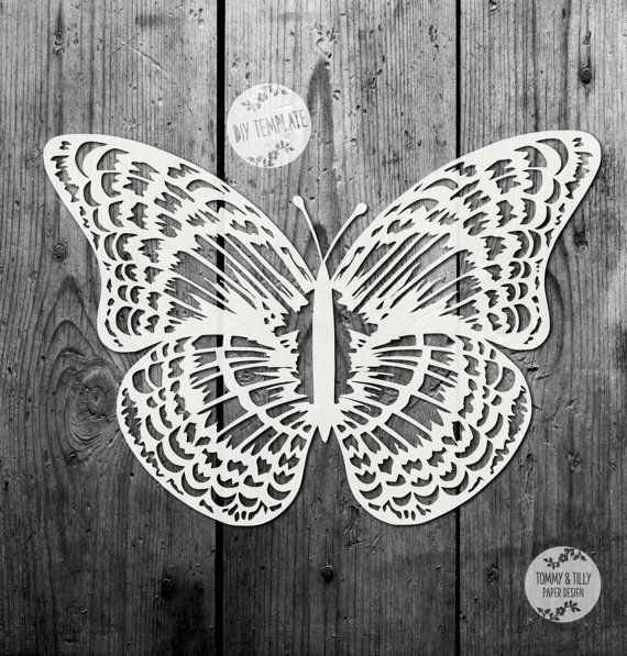 50% SALE!! SVG / PDF Delicate Butterfly Design - Papercutting Template to print and cut yourself (Commercial Use)