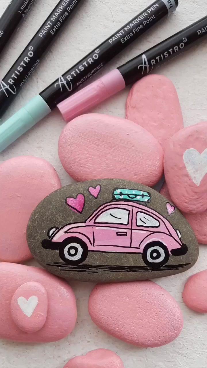 Cute pink car painted rock video tutorial