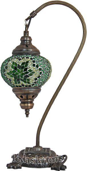 14 CM GREEN MOSAIC TURKISHTABLE TOP SWAN LAMP $60 + SHIPPING LEYLASLANTERNS.COM