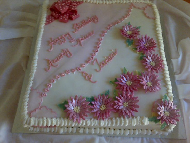 Full view of ladies' sheet cake in two colors
