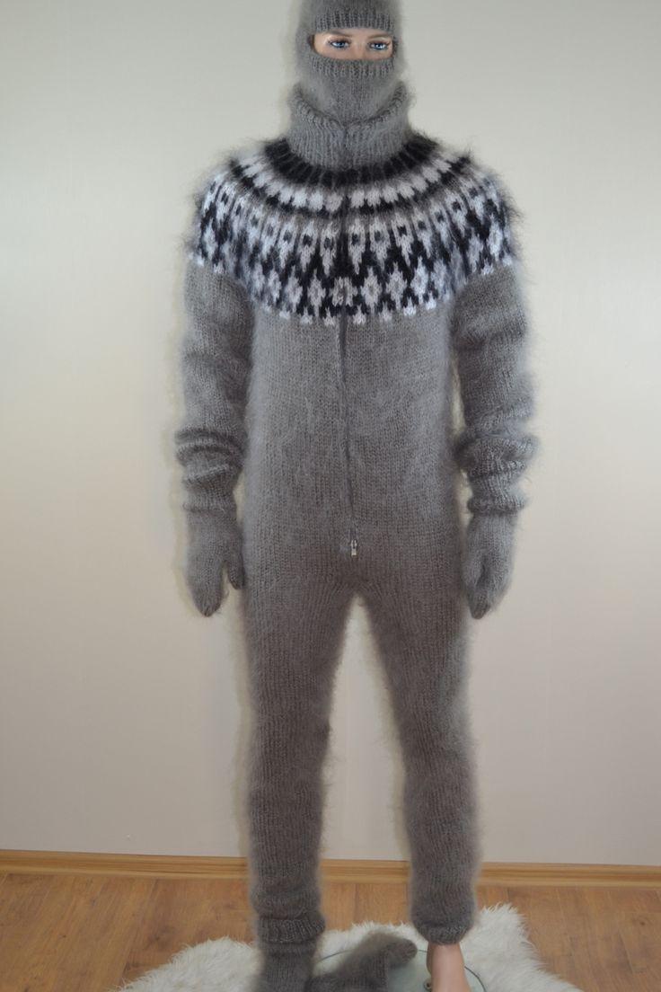 Mens sweater bodysuit double opening zipper socks gloves ski cap