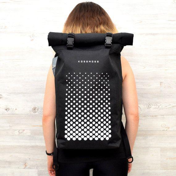 1eab82ed5cae Roll Top Backpack / Waterproof Backpack / Black Roll Top Backpack ...