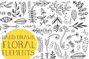 120+ Hand Drawn Floral Elements - Illustrations - 3