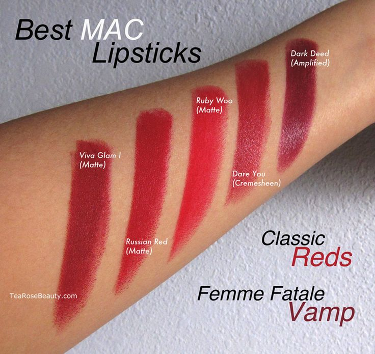 Best MAC Lipsticks - Classic Reds to Femme Fatale Vamp / Viva Glam I (Matte), Russian Red (Matte), Ruby Woo (Matte), Dare You (Cremesheen), Dark Deed (Amplified) / TeaRoseBeauty.com